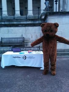 Neville ready for a bear hugs event.